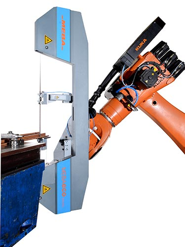 Robot guided bandsaw
